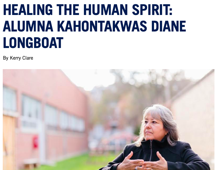 "Screenshot of article with headline ""Healing the Human Spirit: Alumna Kahontakwas Diane Longboat"" with photo of subject."