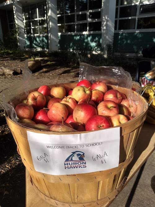 "Photograph of a barrel of red apples, with a sign on it that says, ""Welcome back to school"""