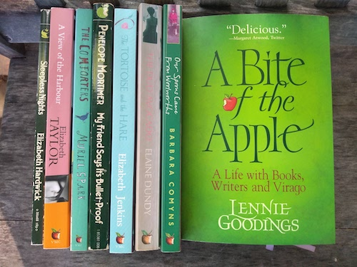 A photo of A BITE OF THE APPLE and 7 other Virago novels from my collection
